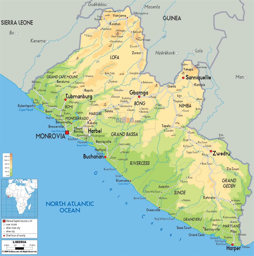Large physical map of Liberia with roads, cities and airports