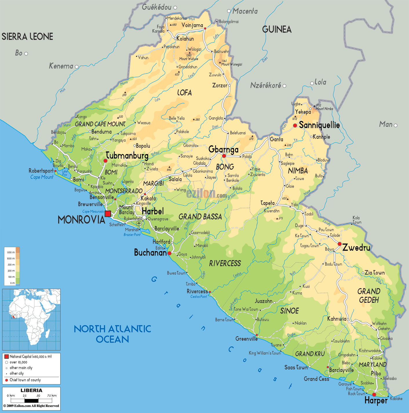Large physical map of Liberia with roads, cities and airports ...