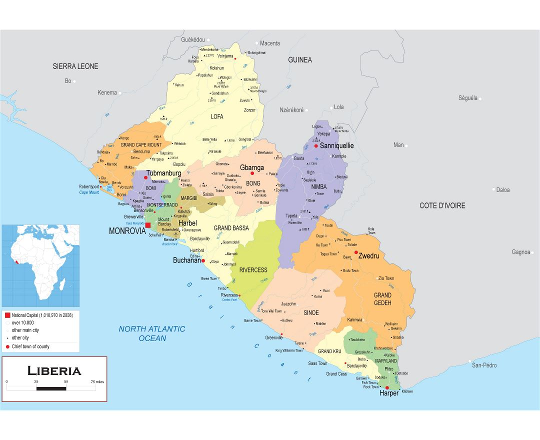 Large political and administrative map of Liberia with other marks
