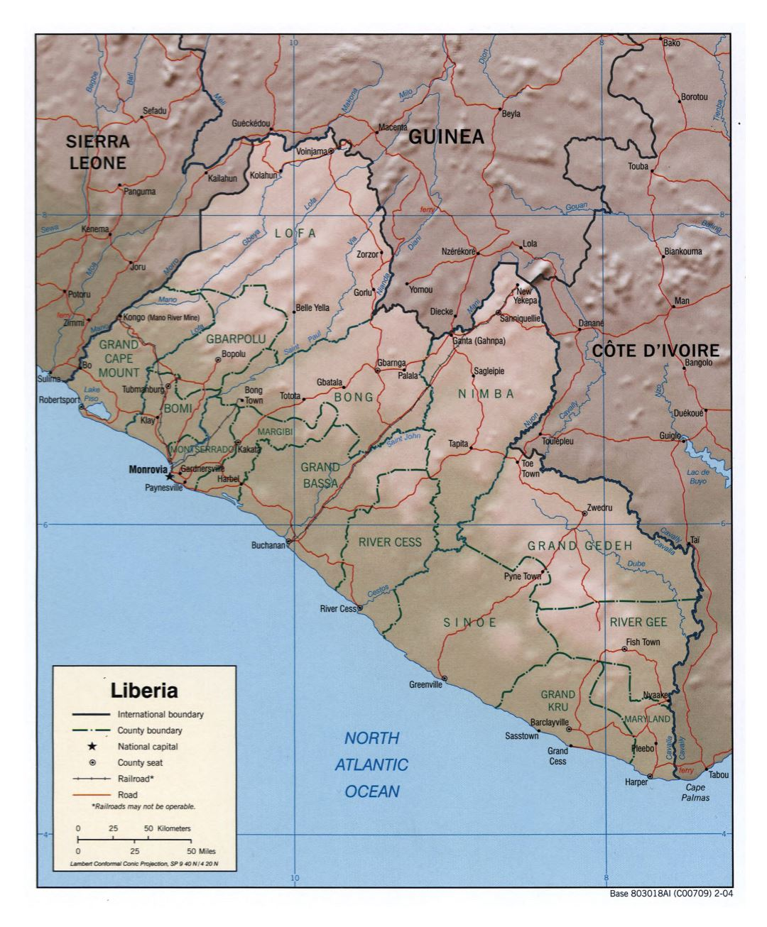 Large political and administrative map of Liberia with relief, roads, railroads and cities - 2004
