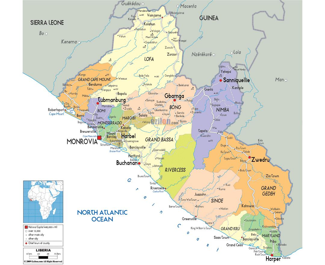 Large political and administrative map of Liberia with roads, cities and airports