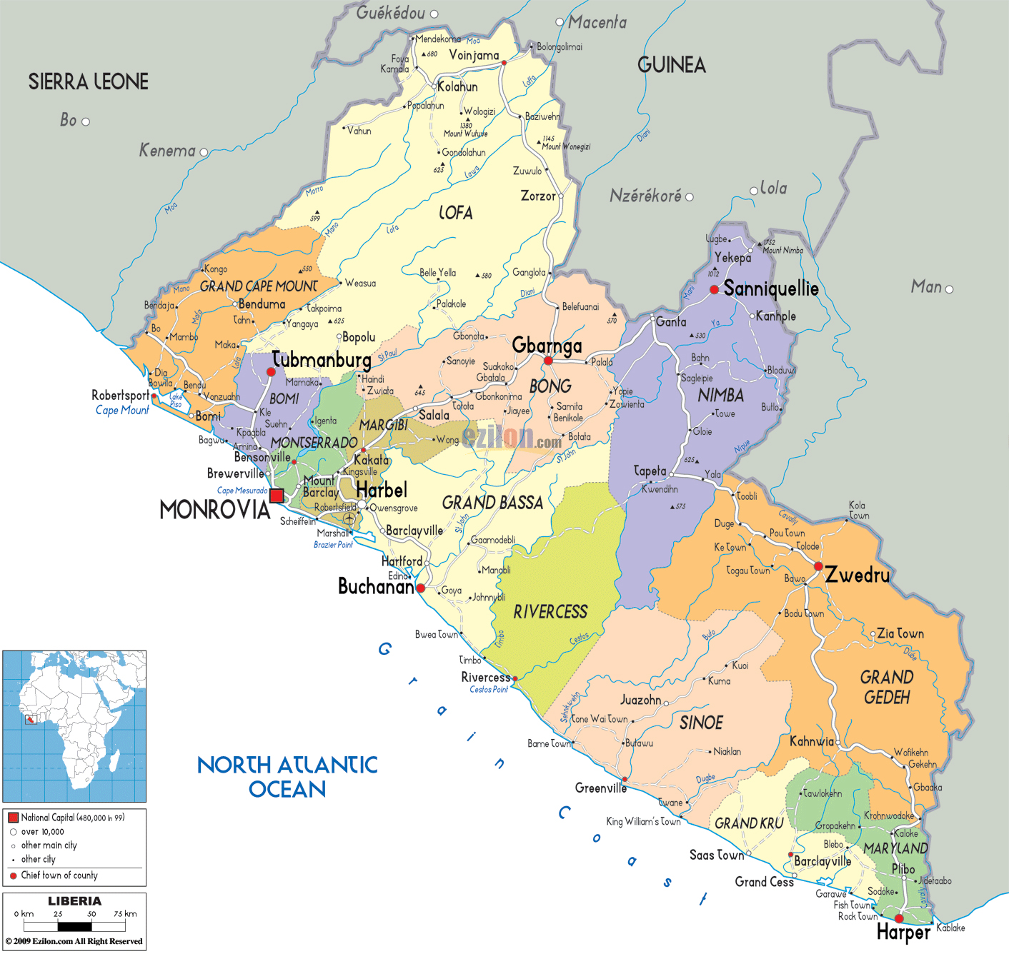 Large political and administrative map of liberia with roads cities large political and administrative map of liberia with roads cities and airports gumiabroncs Choice Image