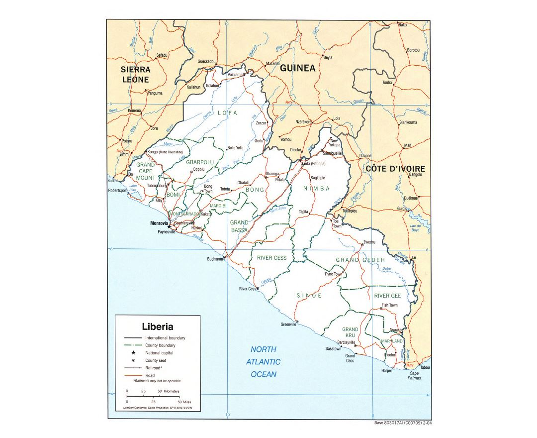 Large political and administrative map of Liberia with roads, railroads and cities - 2004