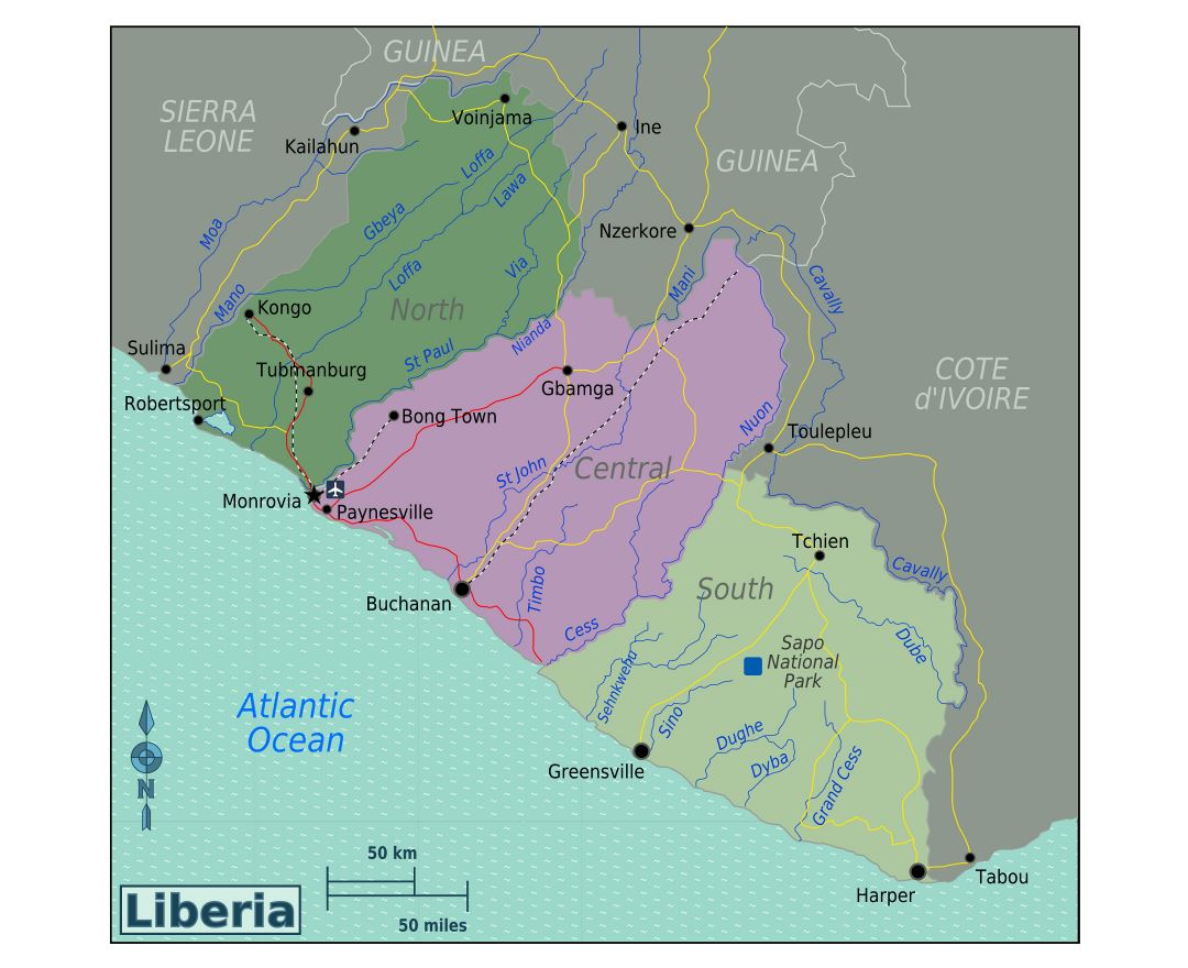 Large regions map of Liberia
