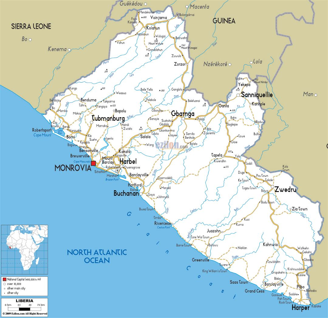 Large road map of Liberia with cities and airports