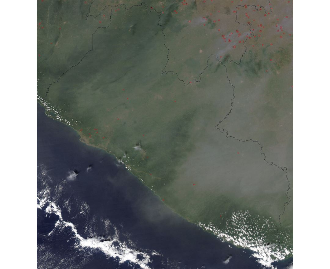 Large satellite map of Liberia