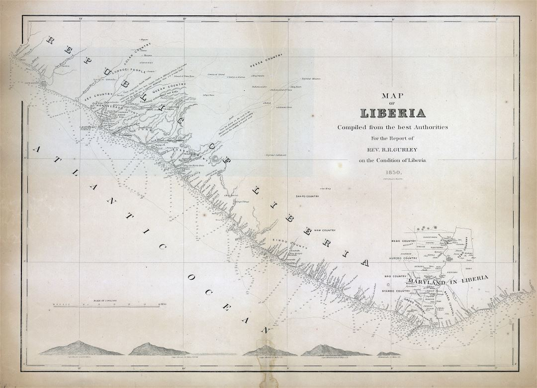 Large scale detailed old map of Liberia - 1850