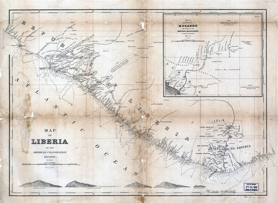 Large scale detailed old map of Liberia - 1870