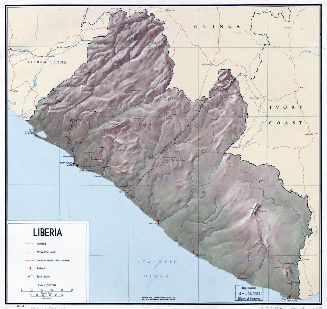 Large scale detailed political map of Liberia with relief, roads, major cities and airports - 1963