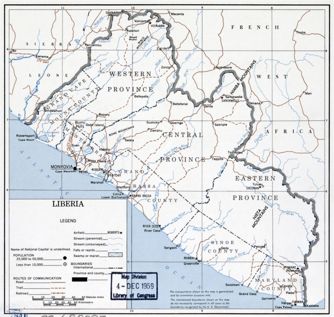 Large scale political map of Liberia - 1959