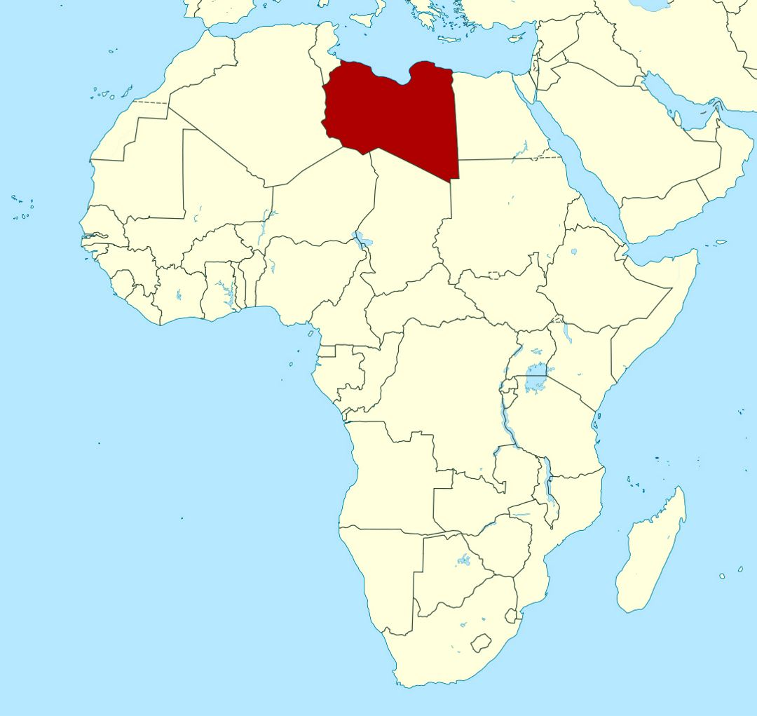 Detailed location map of Libya in Africa