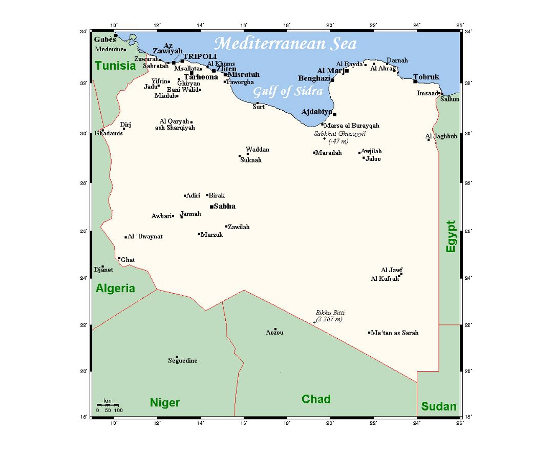 Detailed map of Libya with cities