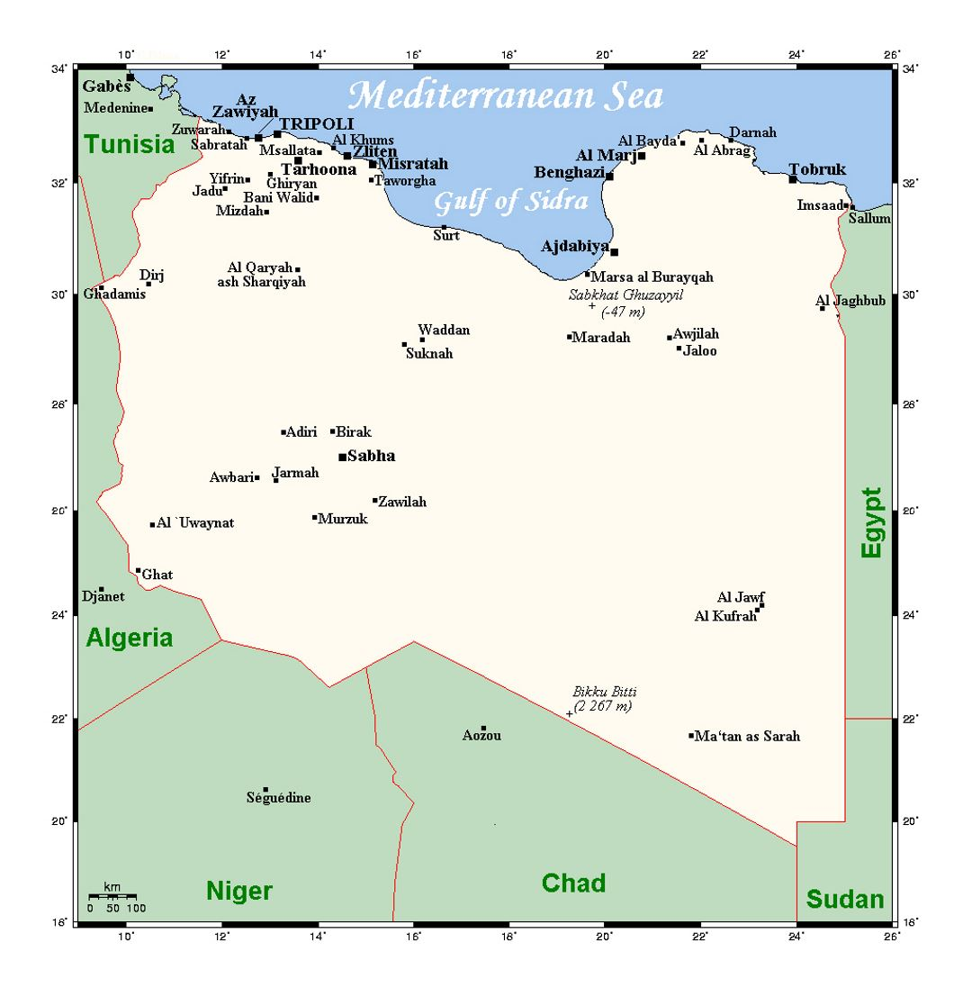 Detailed map of Libya with cities Libya Africa Mapsland Maps