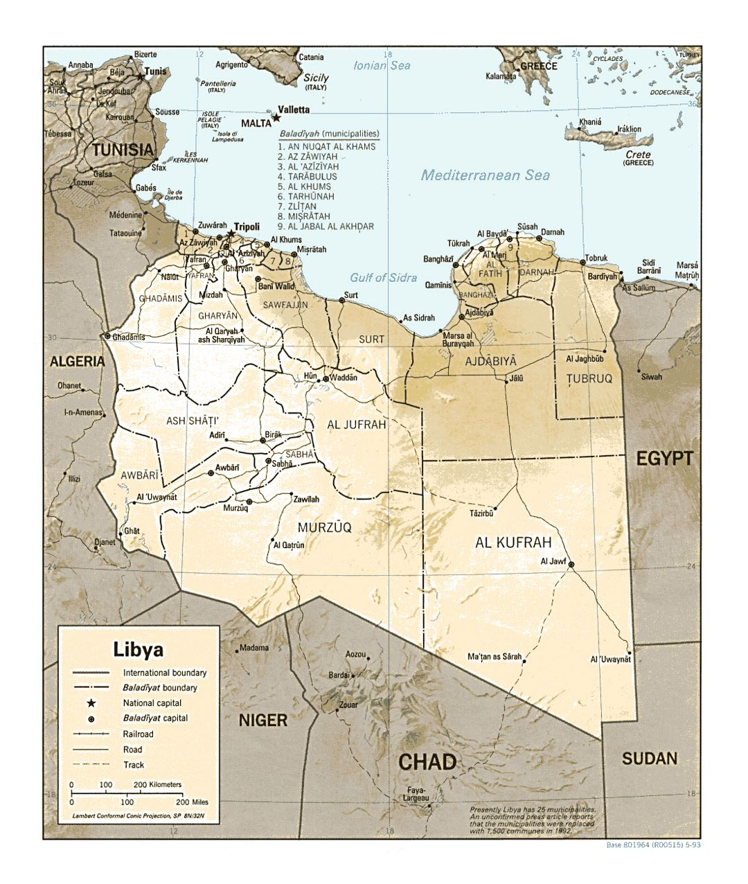 Detailed political and administrative map of Libya with relief, roads, railroads and major cities - 1993