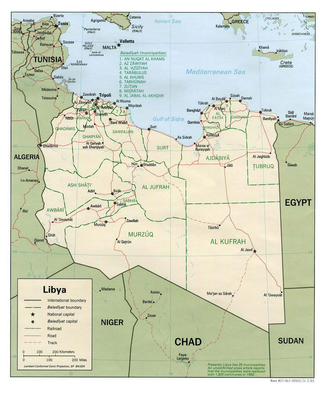 Detailed political and administrative map of Libya with roads, railroads and major cities - 1993