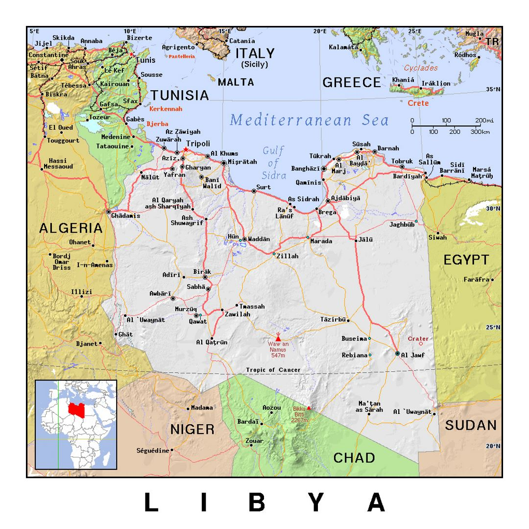 Detailed political map of Libya with relief