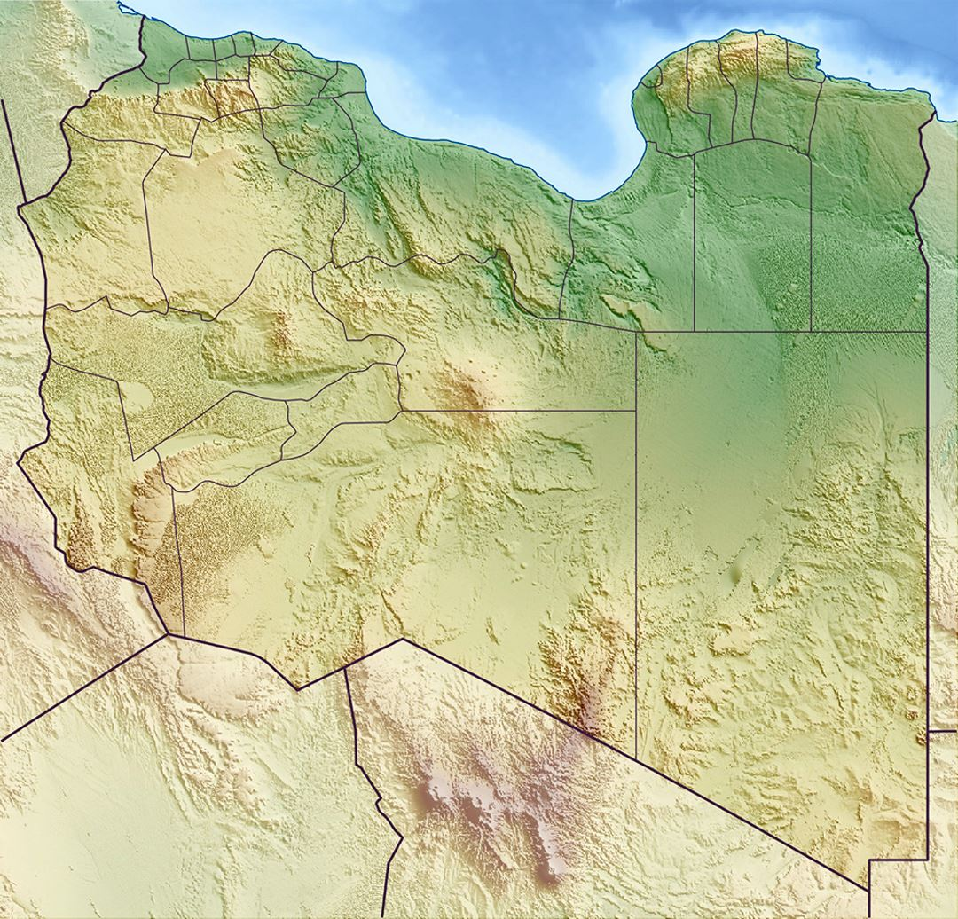 Detailed relief map of Libya