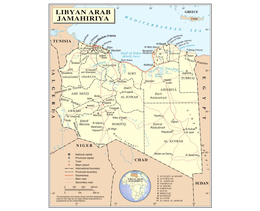 Large detailed political and administrative map of Libya with roads, railroads, cities and airports