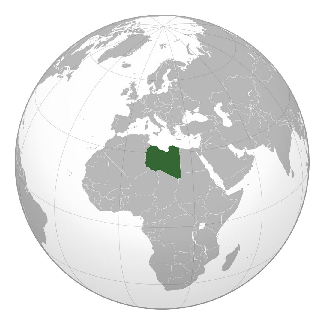 Large location map of Libya in Africa