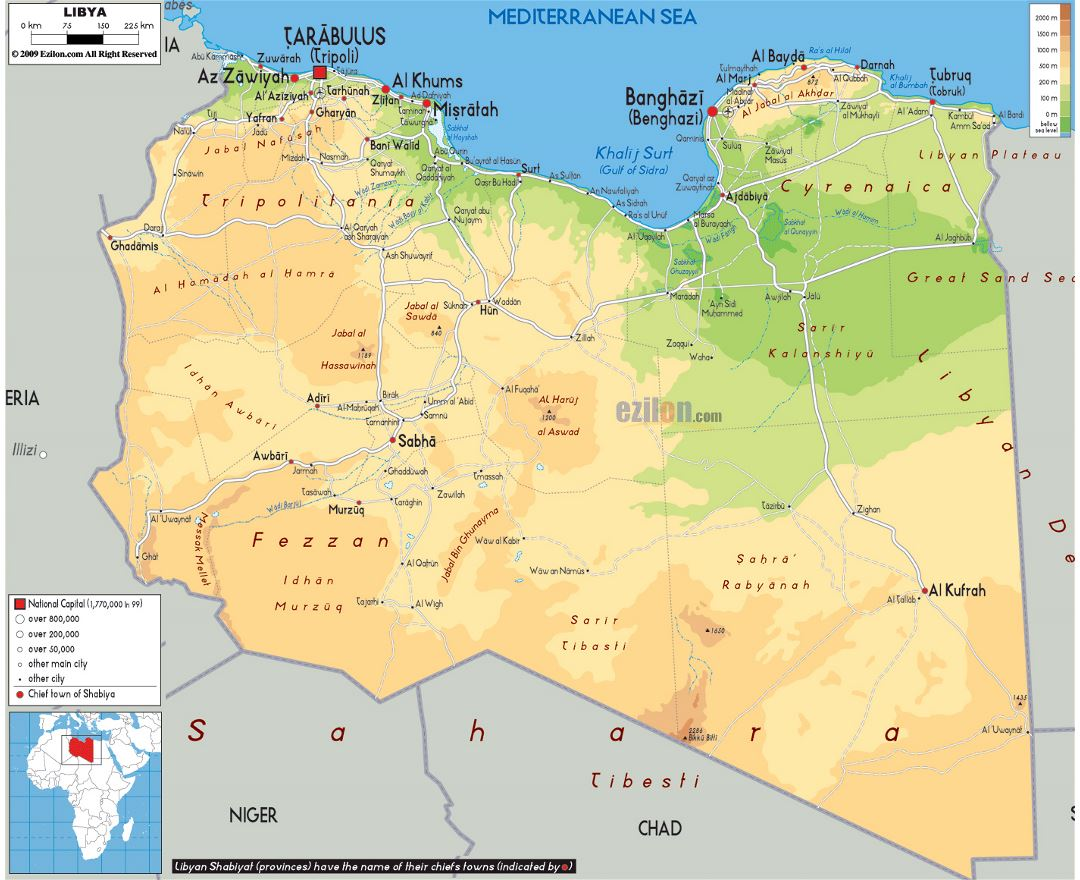 Maps of libya detailed map of libya in english tourist map large physical map of libya with roads cities and airports publicscrutiny Images