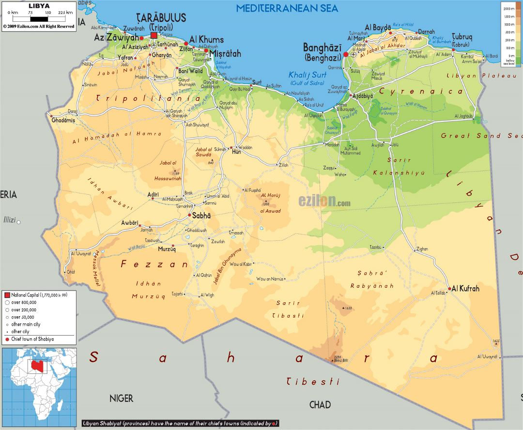 Large physical map of Libya with roads, cities and airports