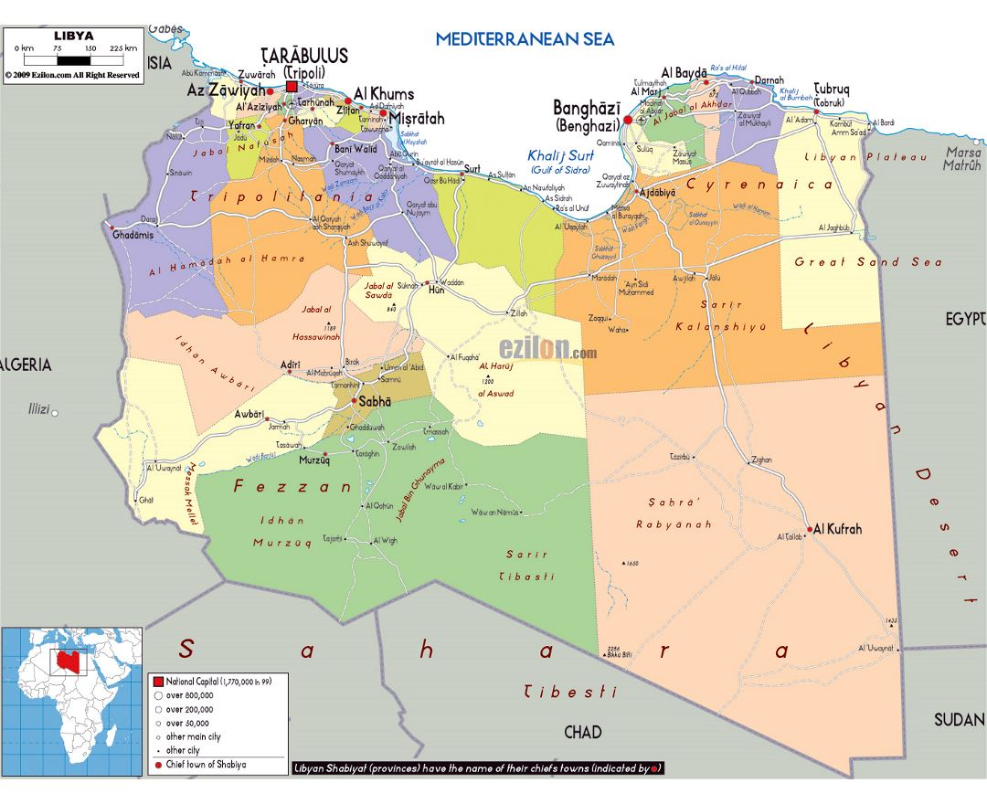 Maps of libya detailed map of libya in english tourist map large political and administrative map of libya with roads cities and airports gumiabroncs Gallery