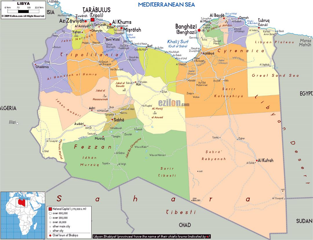 Large political and administrative map of Libya with roads, cities and airports