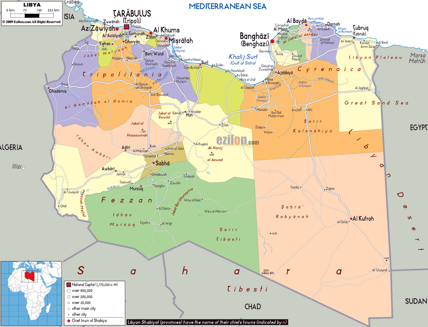 Large political and administrative map of Libya with roads cities