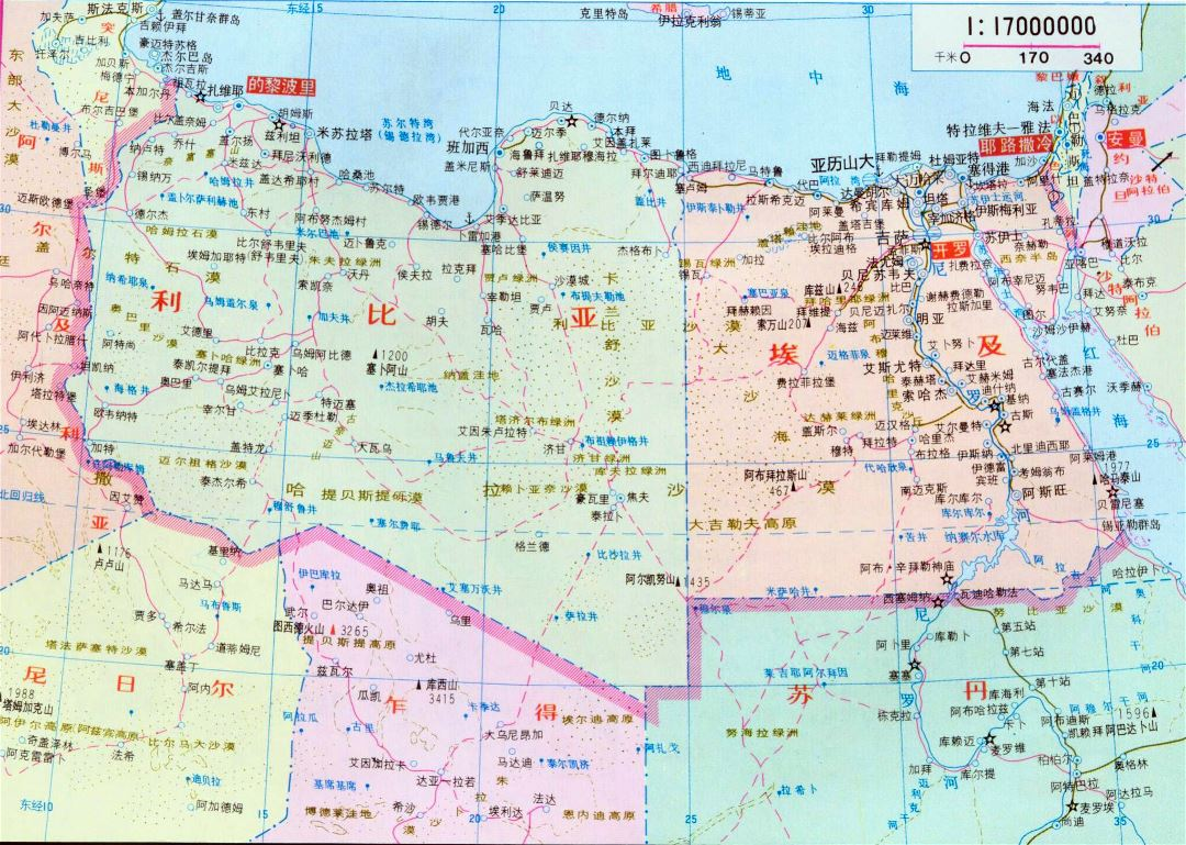 Large political map of Libya and Egypt in chinese