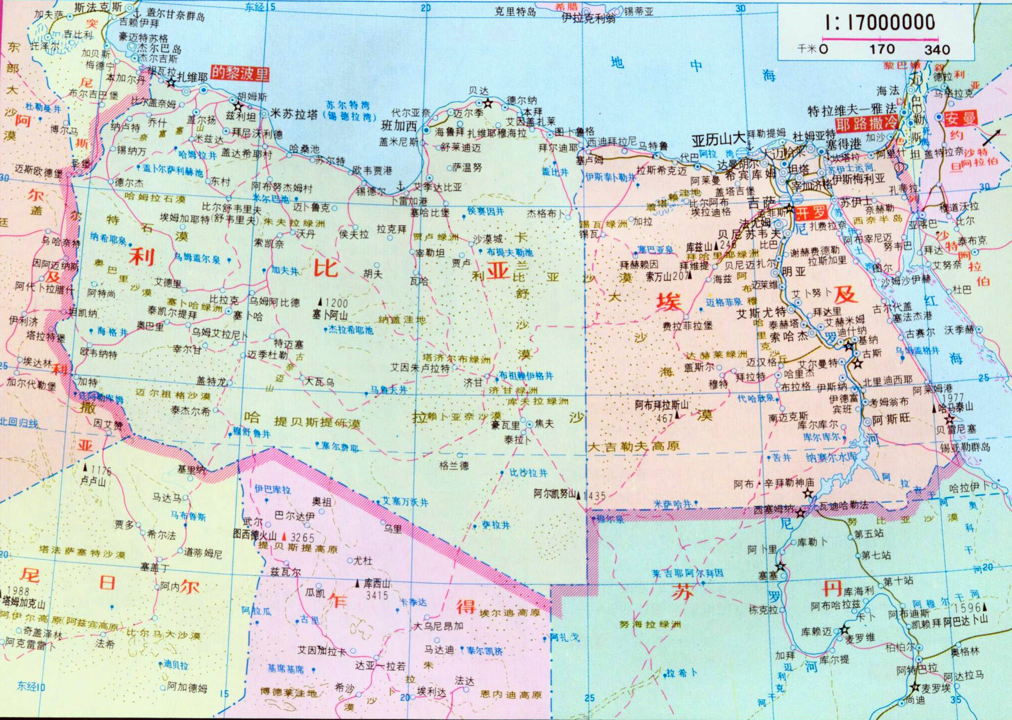 Large Political Map Of Libya And Egypt In Chinese Libya Africa - Map of egypt libya