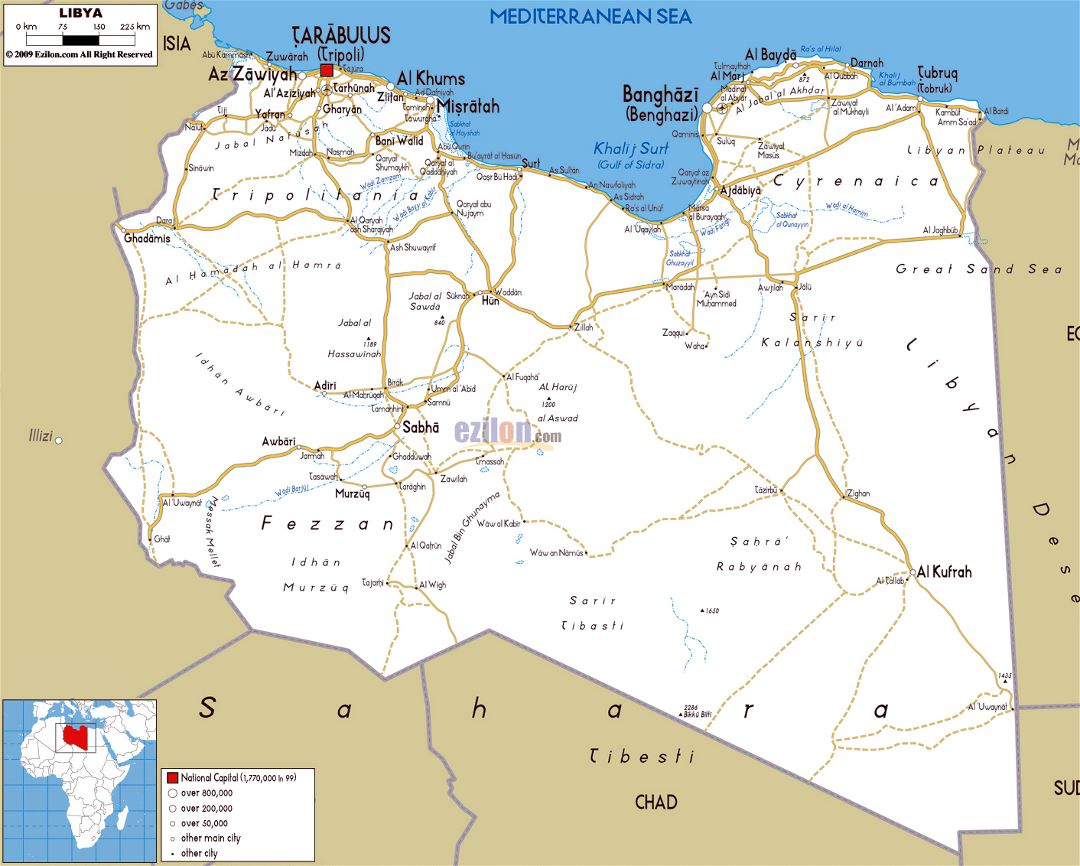 Large road map of Libya with cities and airports