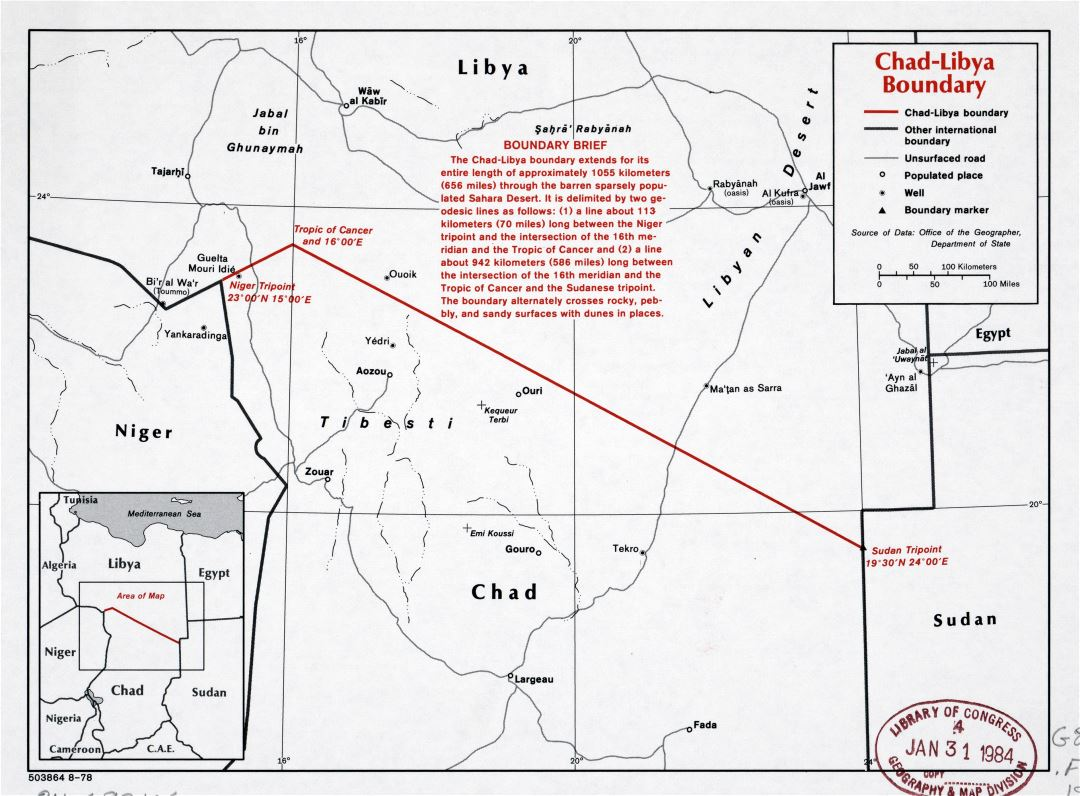 Large scale map of Chad-Libya boundary - 1978