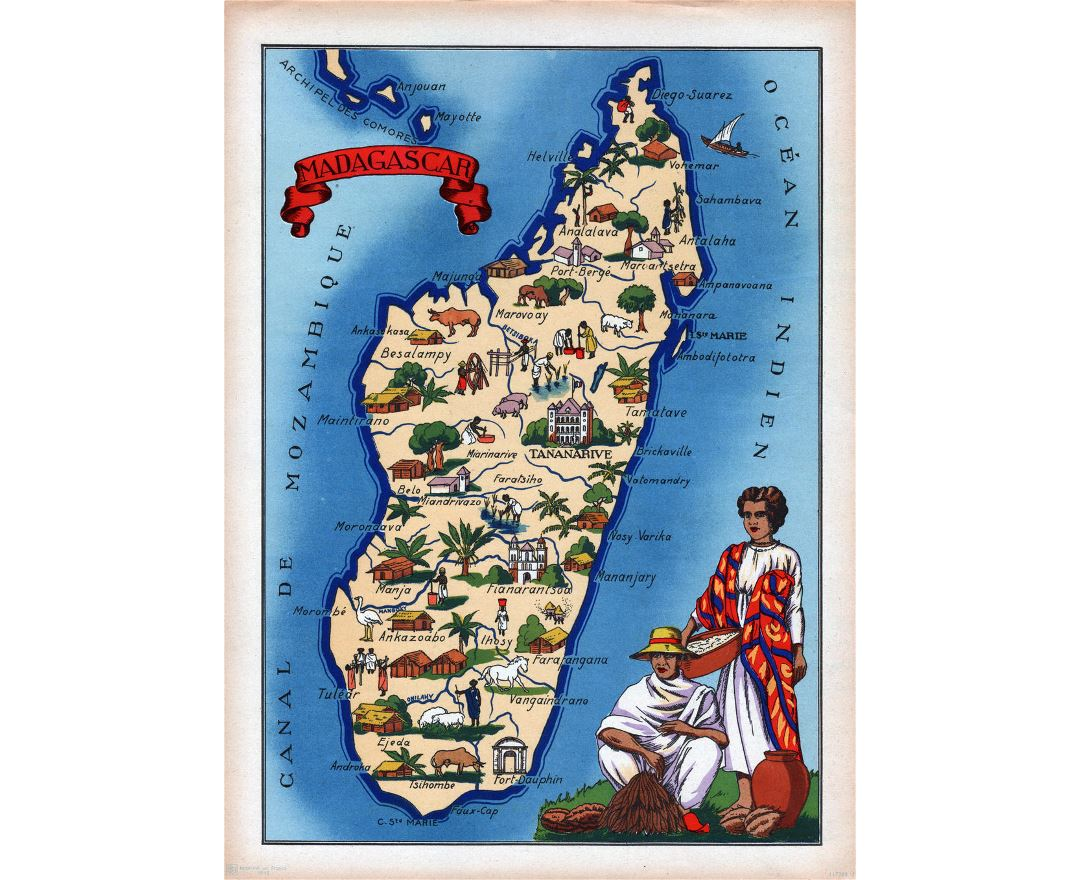 Detailed illustrated map of Madagascar