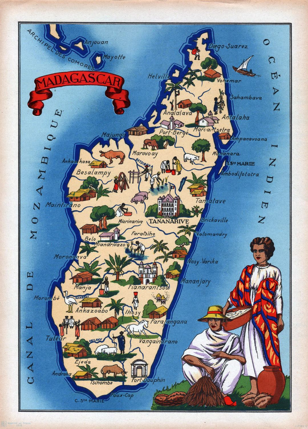 Detailed illustrated map of Madagascar Madagascar Africa