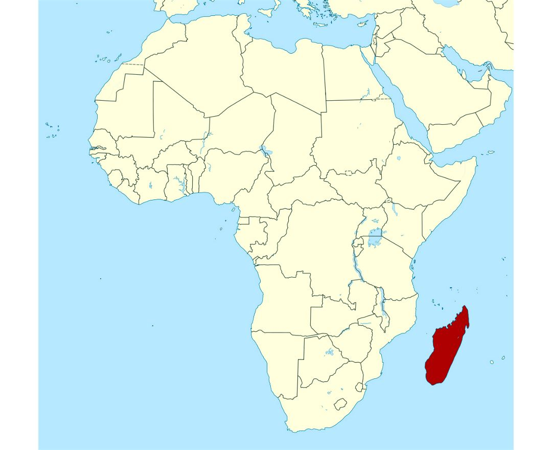 Detailed location map of Madagascar in Africa