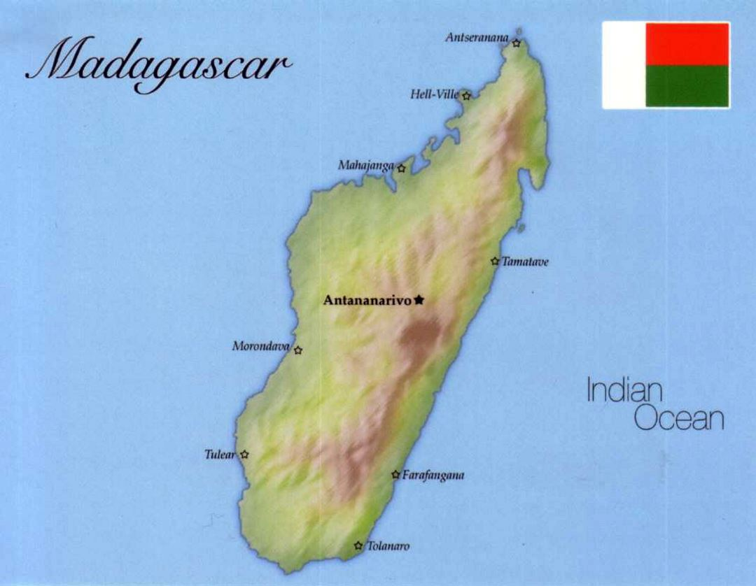 Detailed map of Madagascar with flag