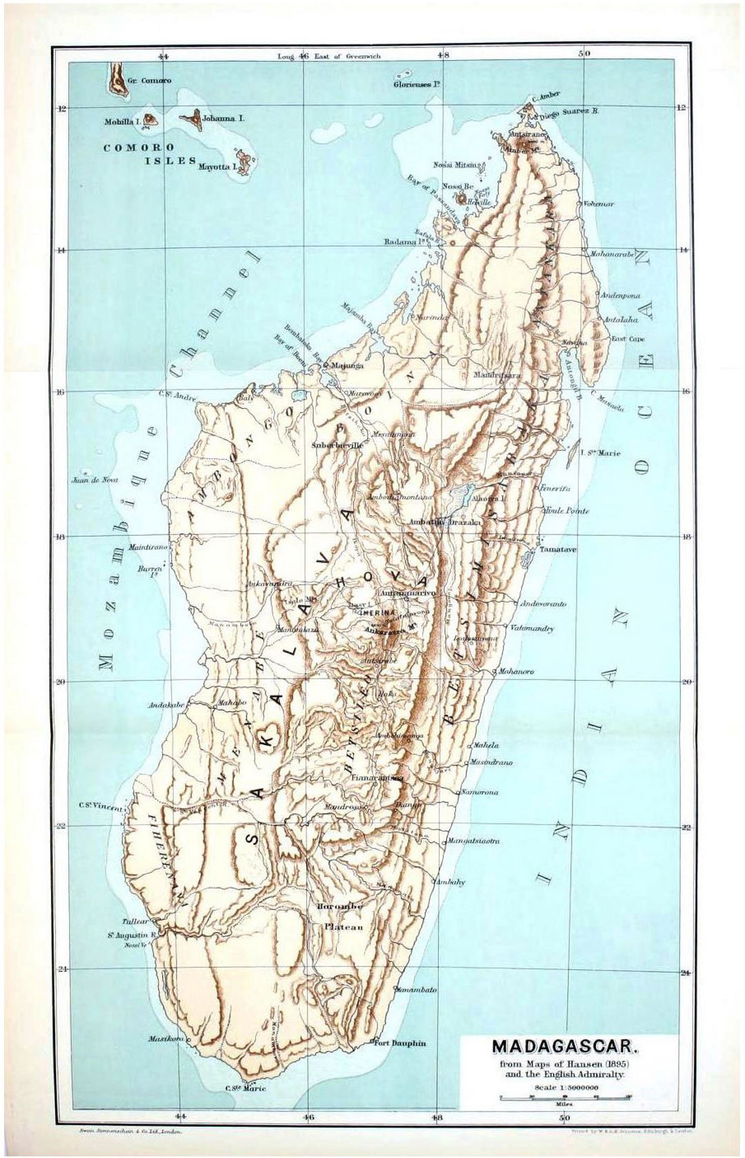 Detailed old map of Madagascar with relief - 1895