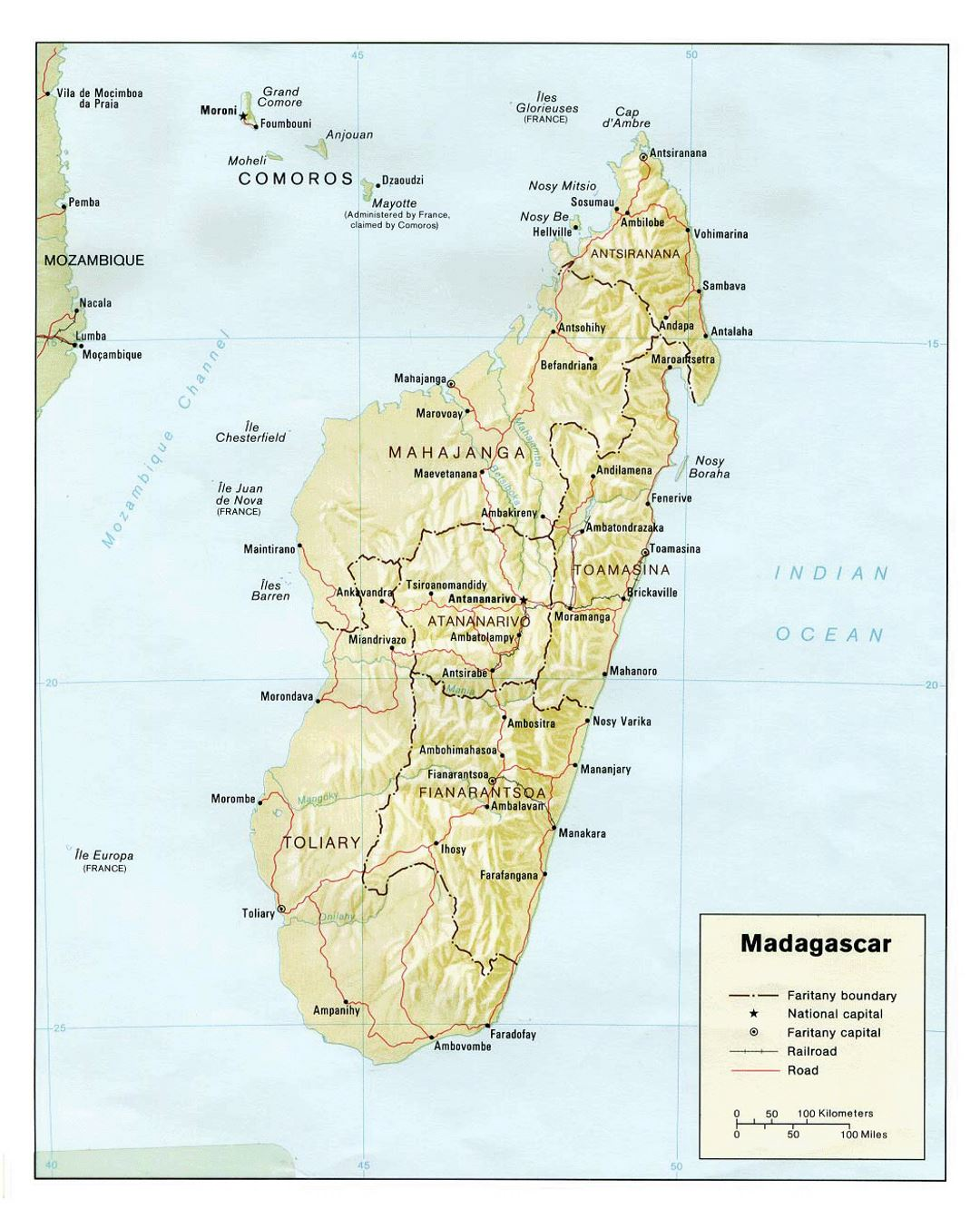 Detailed political and administrative map of Madagascar with relief, roads, railroads and major cities - 1981