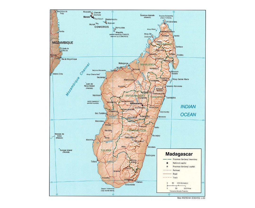 Detailed political and administrative map of Madagascar with relief, roads, railroads and major cities - 2003
