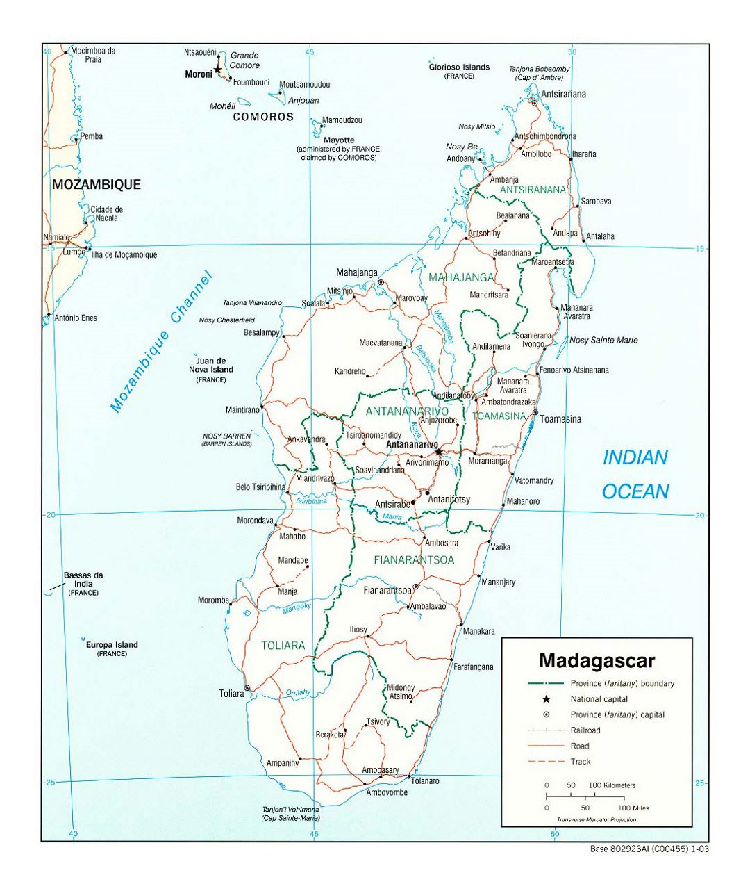 Detailed political and administrative map of Madagascar with roads, railroads and major cities - 2003