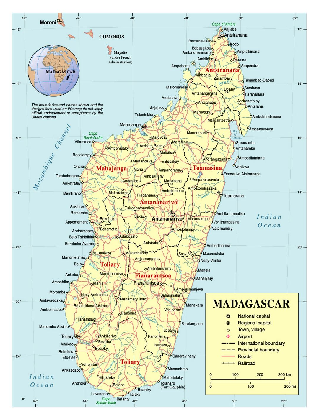 Detailed political and administrative map of Madagascar with roads, railroads, cities and airports