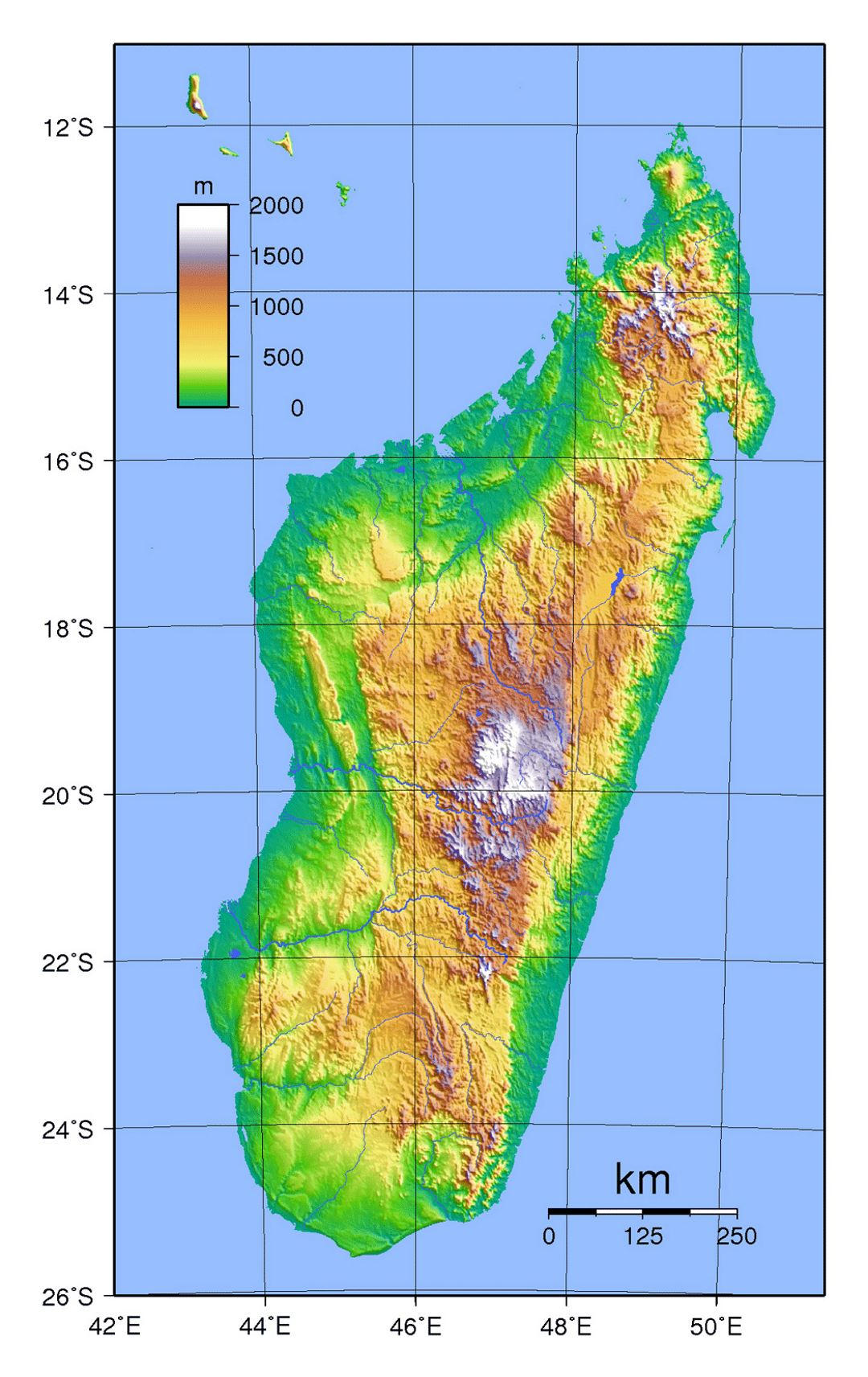 Detailed topographical map of Madagascar