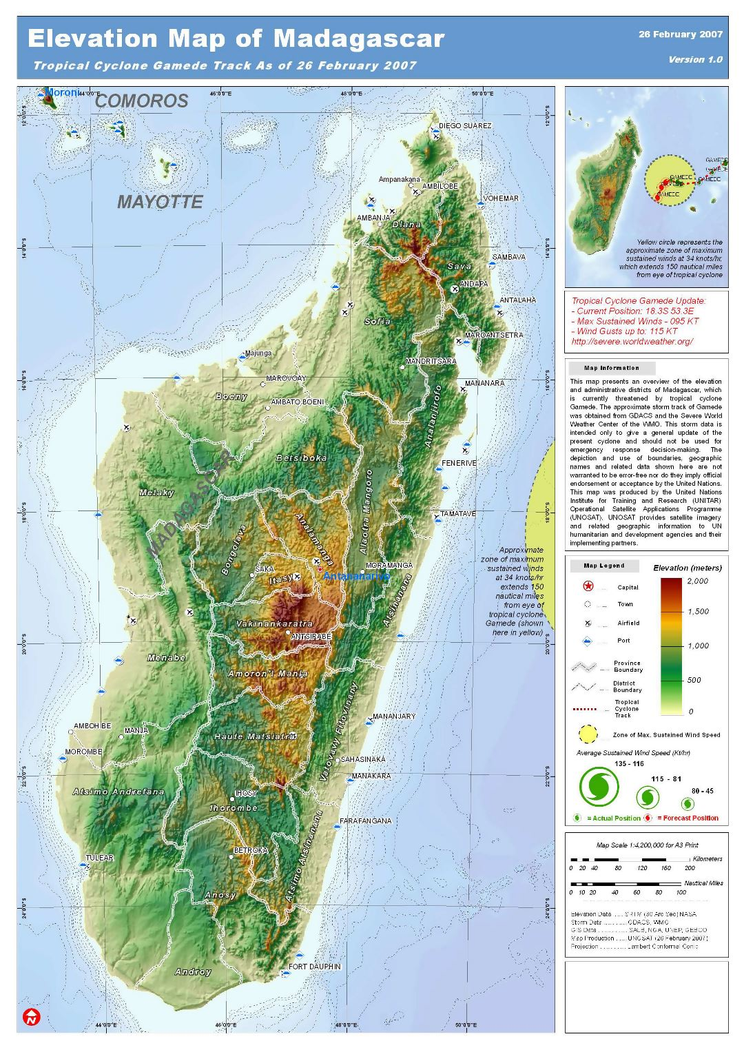 Large detailed elevation map of Madagascar