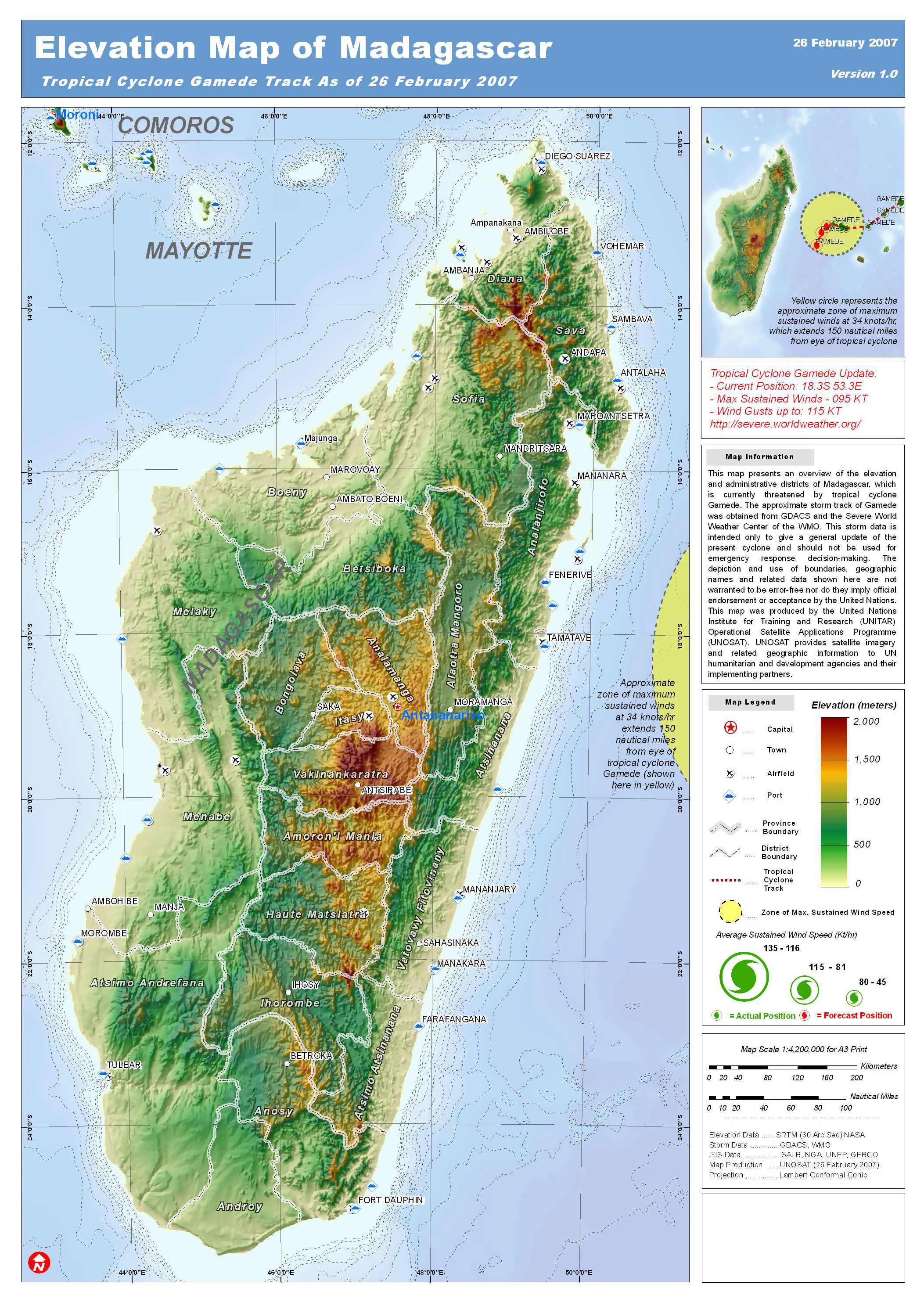 Elevation Map Of Africa With Key.Large Detailed Elevation Map Of Madagascar Madagascar