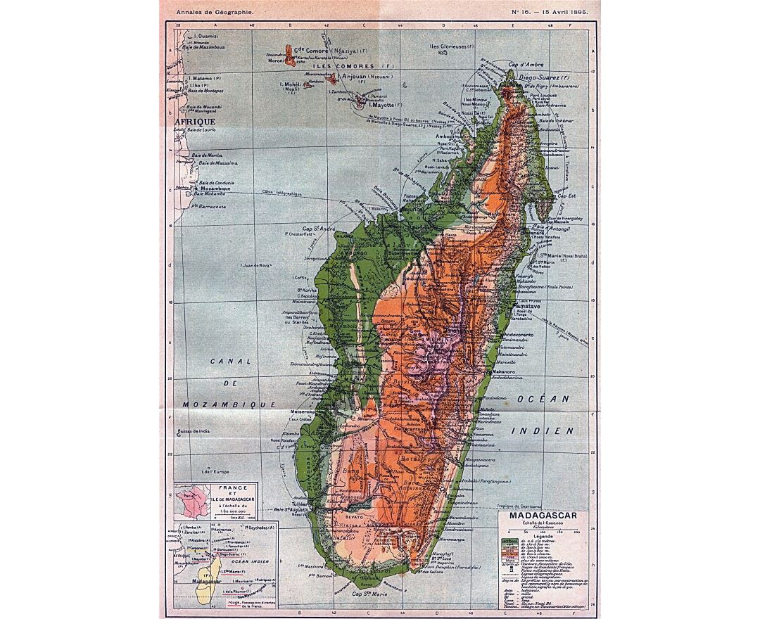 Large detailed old physical map of Madagascar - 1895