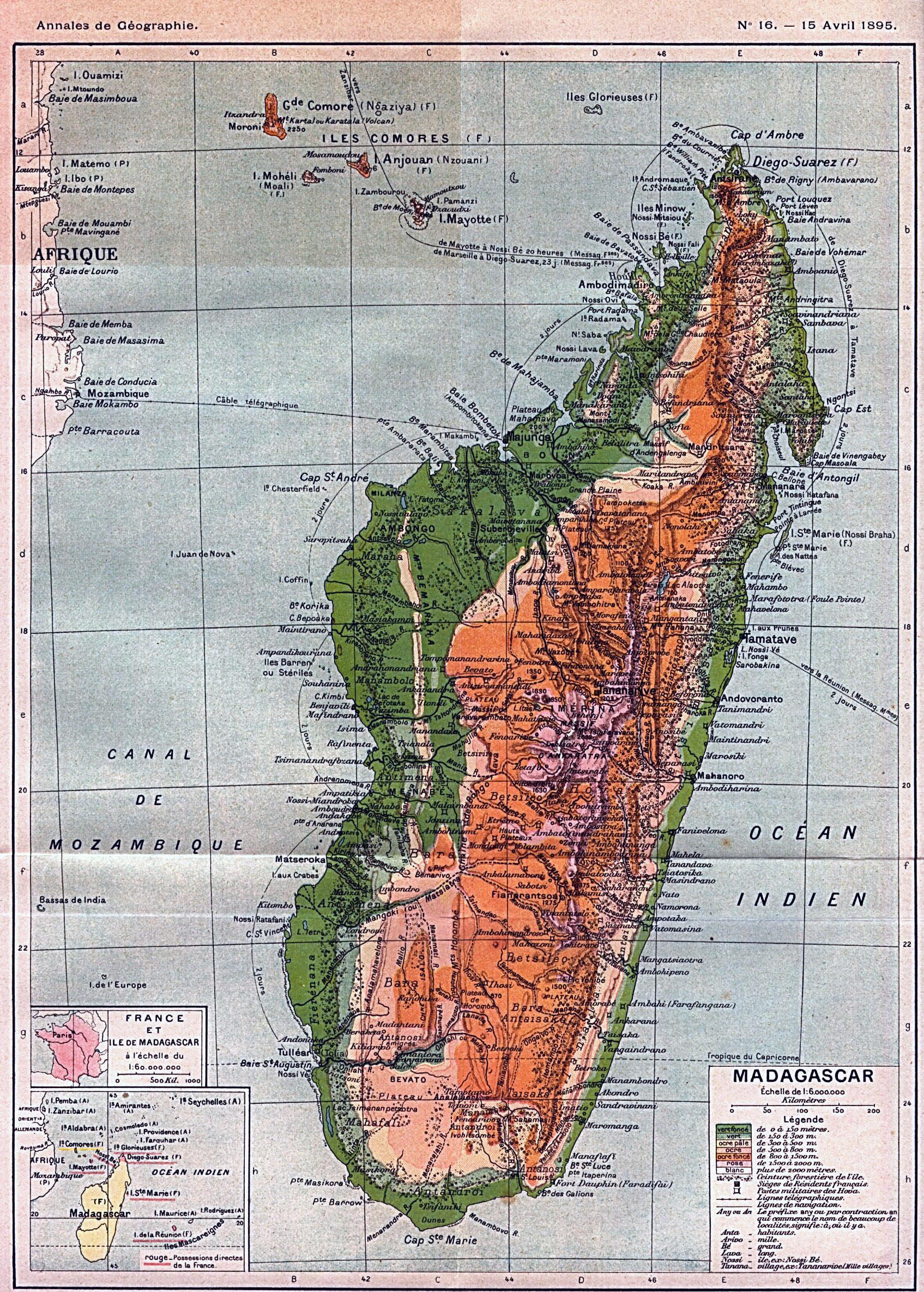 Africa Physical Map Madagascar.Large Detailed Old Physical Map Of Madagascar 1895