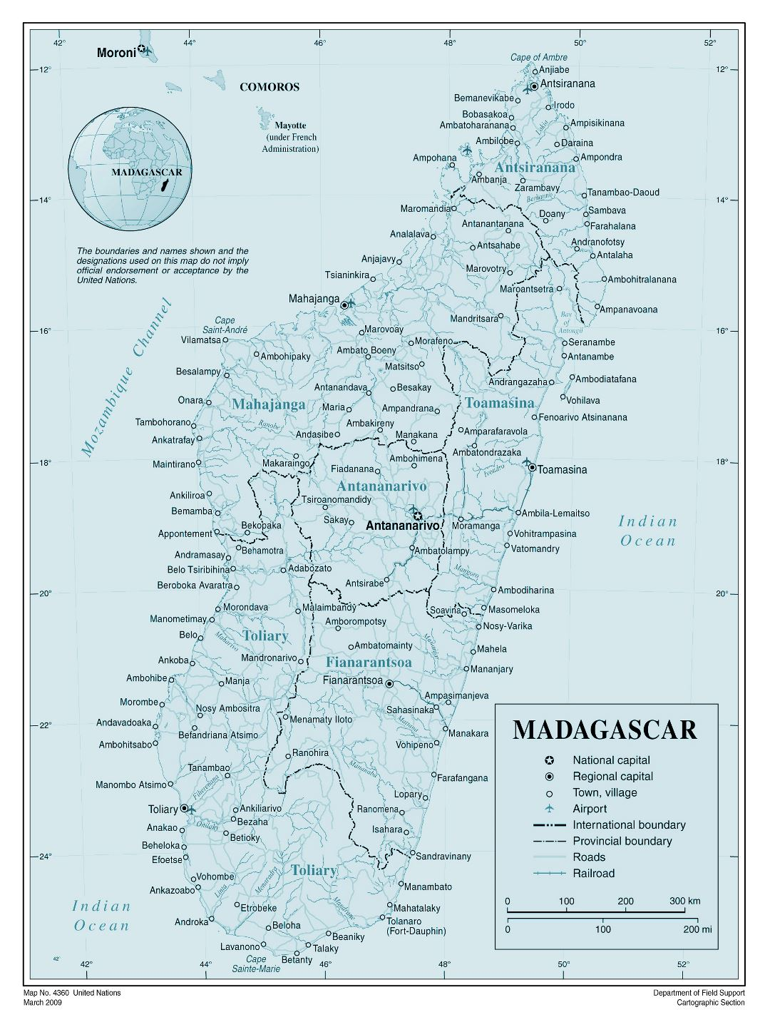 Large detailed political and administrative map of Madagascar with all cities, roads, railroads and airports