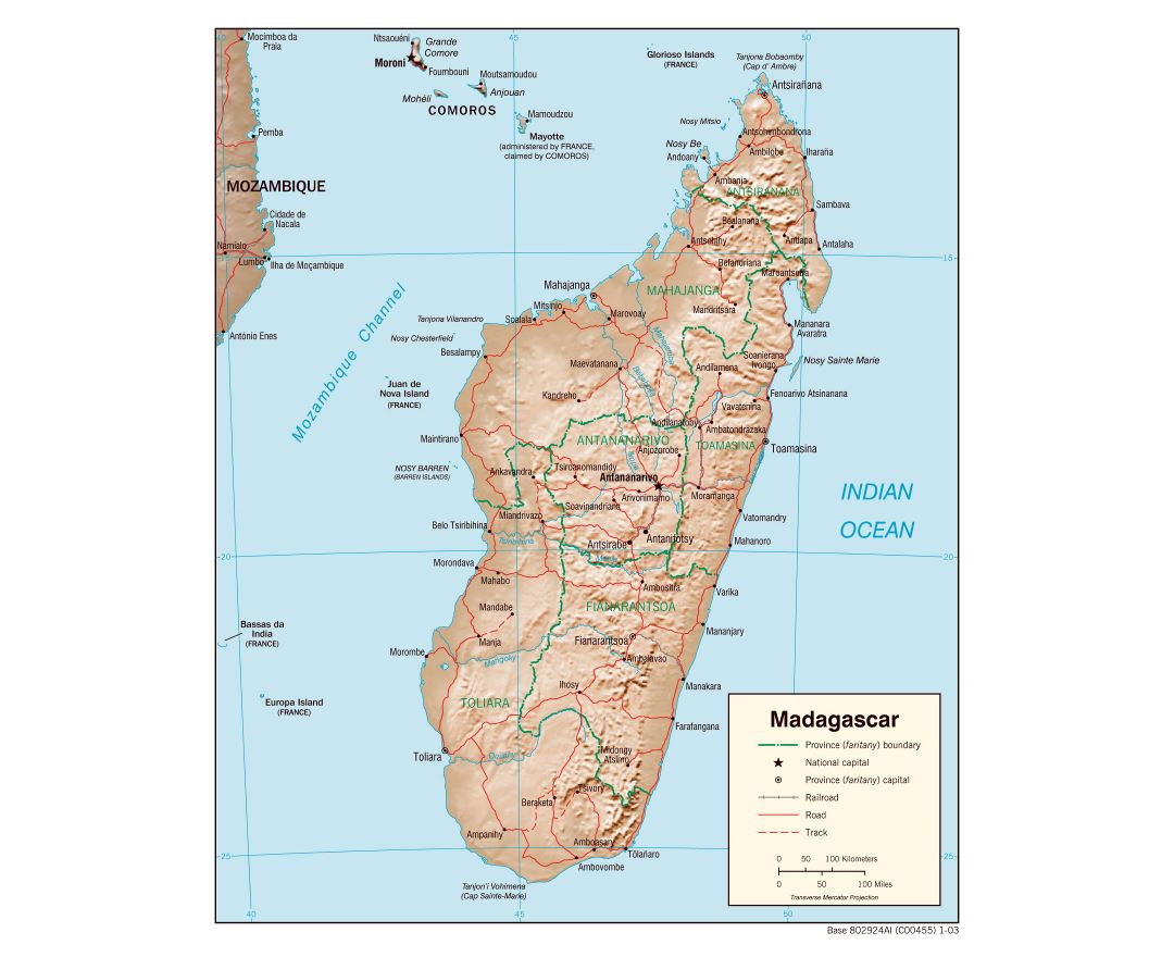 Large detailed political and administrative map of Madagascar with relief, roads, railroads and major cities - 2003