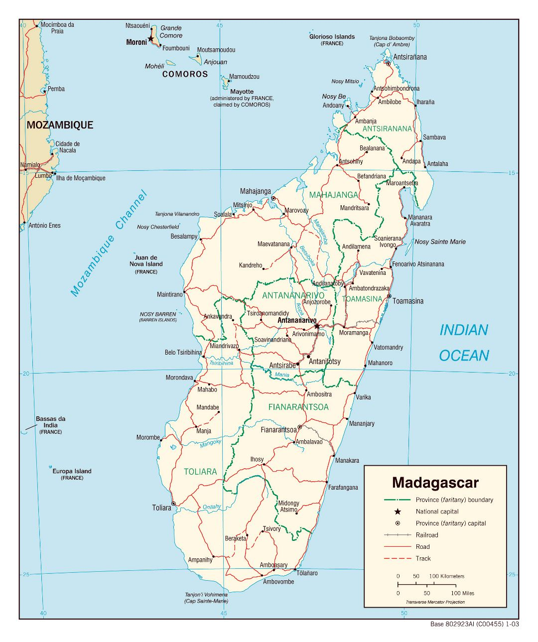 Large detailed political and administrative map of Madagascar with roads, railroads and major cities - 2003