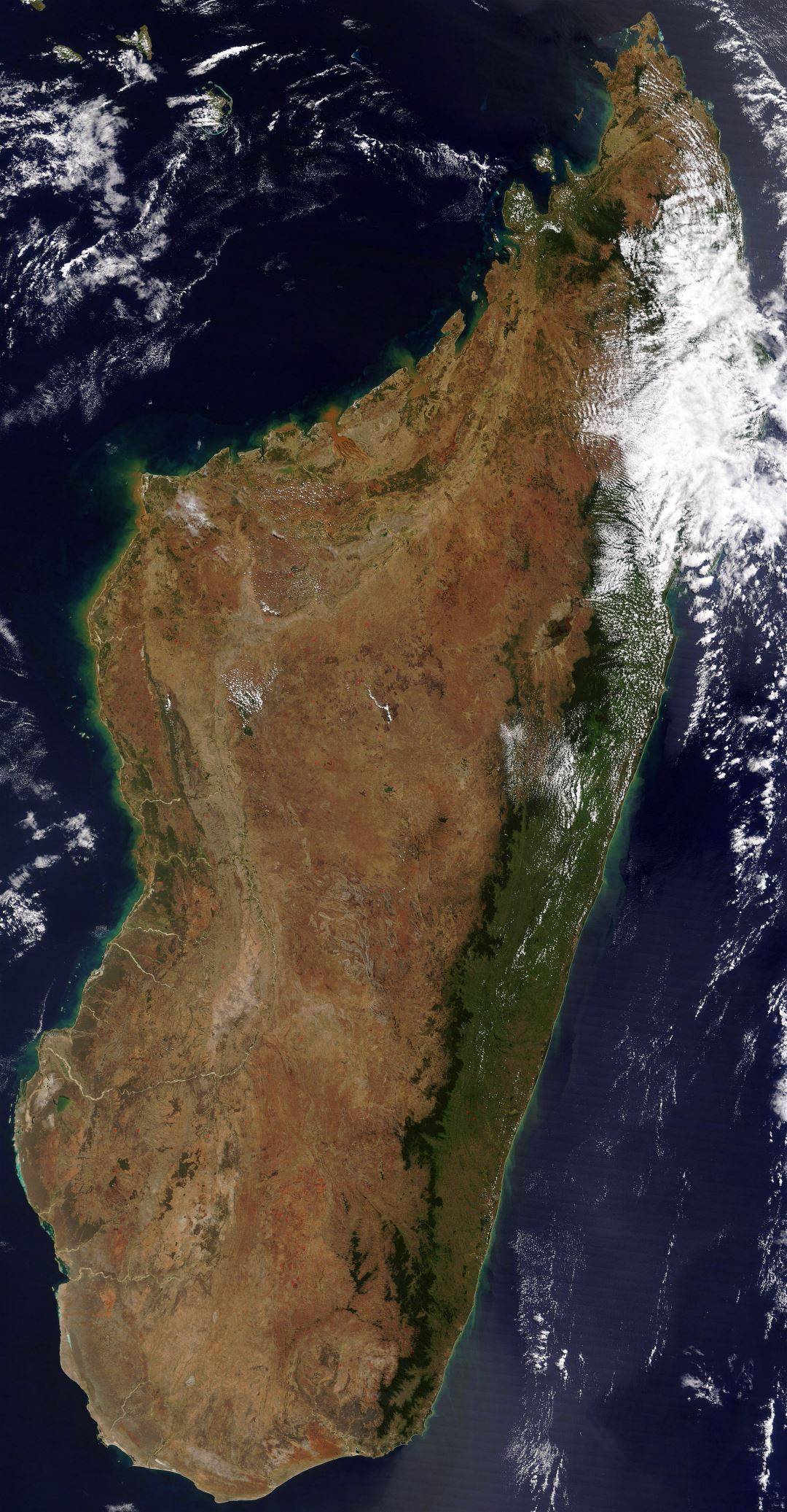 Large detailed satellite map of Madagascar